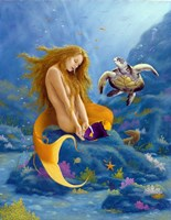 Mermaid and Turtle 2 Fine Art Print