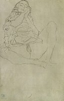 Sitting Half-Nude With Closed Eyes, 1913 by Gustav Klimt, 1913 - various sizes