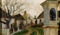 Bare Trees, Houses, and Shrine (Klosterneuburg, Austria) by Egon Schiele - various sizes
