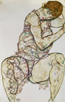 Seated Woman With Left Hand In Hair, 1914 by Egon Schiele, 1914 - various sizes