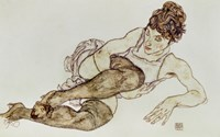 Reclining Woman With Black Stockings, 1917 Fine Art Print