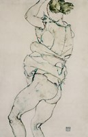 Standing Semi-Nude With Raised Left Arm, 1914 by Egon Schiele, 1914 - various sizes