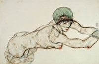 Reclining Female Nude with Green Cap, Leaning to the Right, 1914 by Egon Schiele, 1914 - various sizes