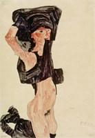 Kneeling Girl, Disrobing, 1910 by Egon Schiele, 1910 - various sizes