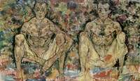 Two Squatting Men  (Double Self-Portrait), 1918 Fine Art Print