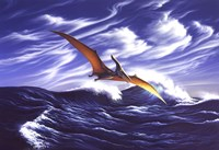 Pteranodon Soars Over Waves Fine Art Print