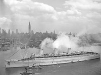 RMS Queen Mary in New York Harbor Fine Art Print