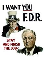Uncle Sam and President Franklin Roosevelt Fine Art Print