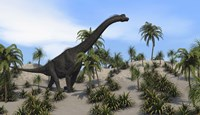 Large Brachiosaurus in a Tropical Environment Fine Art Print