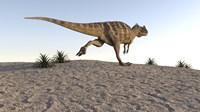 Ceratosaurus Running Across a Terrain Fine Art Print