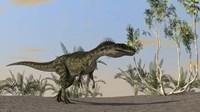 Monolophosaurus Walking in Desert by Kostyantyn Ivanyshen - various sizes