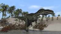 Monolophosaurus Walking in Water by Kostyantyn Ivanyshen - various sizes