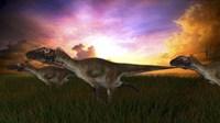 Three Utahraptors Running at Sunset by Kostyantyn Ivanyshen - various sizes