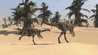 Two Gigantoraptors in Desert Landscape by Kostyantyn Ivanyshen - various sizes - $47.49