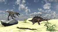 Utahraptor and a Kentrosaurus by Kostyantyn Ivanyshen - various sizes
