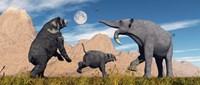 Arctodus Bear Chasing Deinotherium Fine Art Print