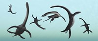 Plesiosaurs Gather Underwater Fine Art Print