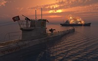 A German U-Boat and Allied Cargo Ship Fine Art Print