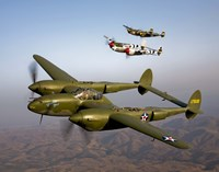 Three Lockheed P-38 Lightnings Fine Art Print
