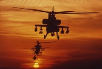 Four AH-64 Apache Helicopters Fine Art Print
