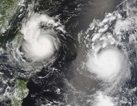 Typhoon Saomai and Tropical Storm Bopha - various sizes