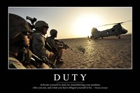 Duty: Inspirational Quote and Motivational Poster Fine Art Print