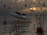 Aliens on UFO's Fine Art Print