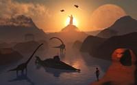 City of Atlantis and Dinosaurs Fine Art Print