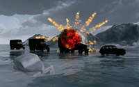 Military Vehicles with a Truck Exploding by Mark Stevenson - various sizes, FulcrumGallery.com brand