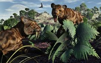 Sabre-Toothed Tigers in Pleistocene Time by Mark Stevenson - various sizes