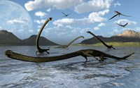 Illustration of Tanystropheus Reptiles by Mark Stevenson - various sizes