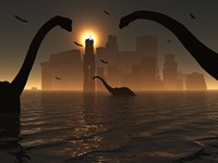Dinosaurs Feed Near the Shores of Atlantis by Mark Stevenson - various sizes, FulcrumGallery.com brand