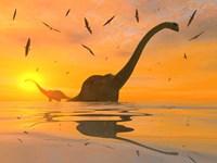 Diplodocus Dinosaurs Bathe by Mark Stevenson - various sizes, FulcrumGallery.com brand