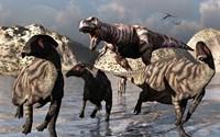A Tyrannosaurus Rex and a Parasaurolophus Duckbill by Mark Stevenson - various sizes - $47.99