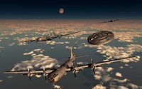 A UFO and B-29 Superfortress Aircraft Fine Art Print