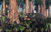 Arctodus bear with her Cubs by Mark Stevenson - various sizes