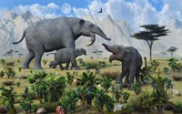 Deinotherium with her Twin Calves by Mark Stevenson - various sizes, FulcrumGallery.com brand