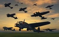 German Heinkel Bombers Taking Off by Mark Stevenson - various sizes