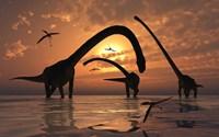 Omeisaurus Sauropod Dinosaurs by Mark Stevenson - various sizes