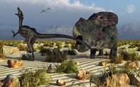 Protoceratops Biting a Velociraptor Fine Art Print