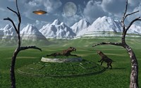 Sabre-Tooth Tigers Encountering UFO's by Mark Stevenson - various sizes