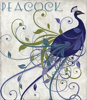 Peacock Nouveau I Fine Art Print