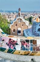 Spain, Catalonia, Barcelona, Park Guell Terrace Framed Print