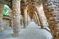 Park Guell Colonnaded Footpath, Barcelona, Spain Fine Art Print