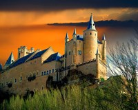 Alcazar castle at sunset, Segovia, Spain Fine Art Print