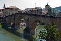 Pedestrian Bridge over the Rio Arga, Puente la Reina, Navarra Region, Spain Fine Art Print