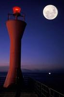 Spain, Teneriffe, Santa Cruz, Lighthouse, full moon Fine Art Print