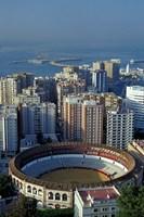 View of Plaza de Toros and Cruise Ship in Harbor, Malaga, Spain by John & Lisa Merrill - various sizes