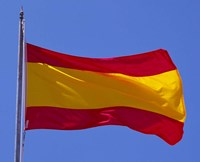 Spanish Flag, Barcelona, Spain Fine Art Print