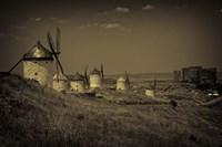 Spain, Toledo Province, Consuegra Antique La Mancha windmills Fine Art Print